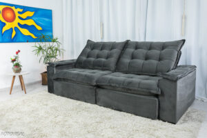 Sofa Retratil Reclinavel Atenas 2.50m Veludo Cinza 814 D33 Soft 4
