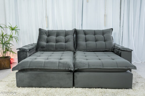 Sofa Retratil Reclinavel Atenas 2.50m Veludo Cinza 814 D33 Soft