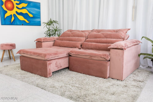 Sofa Retratil Reclinavel Dubai Luxo 2.30m Veludo Rosa 5
