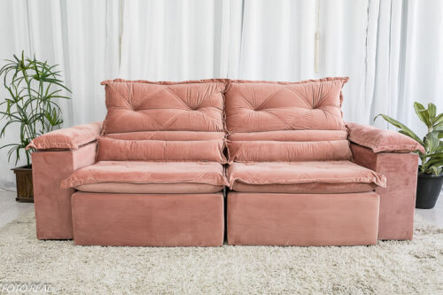 Sofa Retratil Reclinavel Dubai Luxo 2.30m Veludo Rosa 6