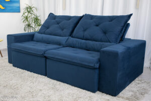 Sofa Retratil Reclinavel Leblon 2.30m Sued Azul 28
