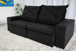 Sofa Retratil Reclinavel Leblon 2.30m Sued Preto 10