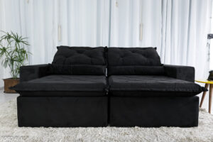 Sofa Retratil Reclinavel Leblon 2.30m Sued Preto 6
